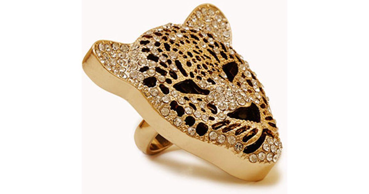 forever 21 rhinestoned jaguar cocktail ring in gold black metallic lyst. Black Bedroom Furniture Sets. Home Design Ideas