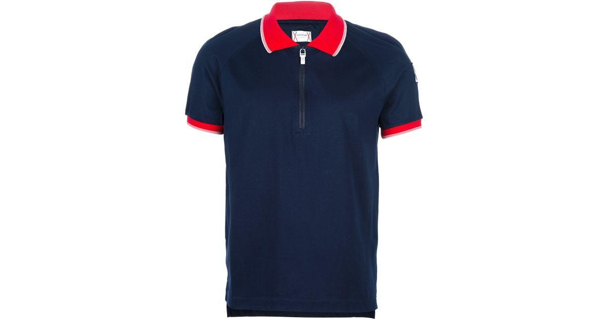 e3320292f Moncler Gamme Bleu Black Zip Up Polo Shirt for men