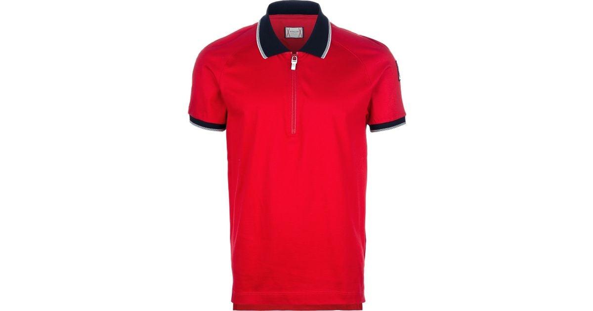 94b274286 Moncler Gamme Bleu Red Zip Up Polo Shirt for men