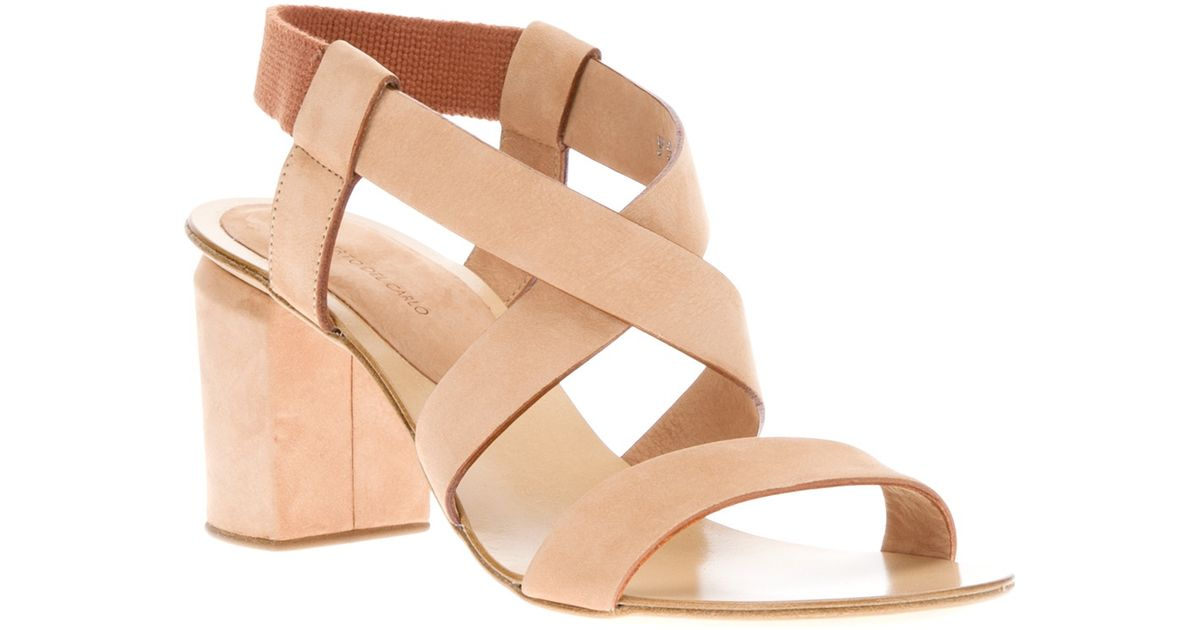 Roberto del carlo Chunky Heel Sandal in Natural | Lyst
