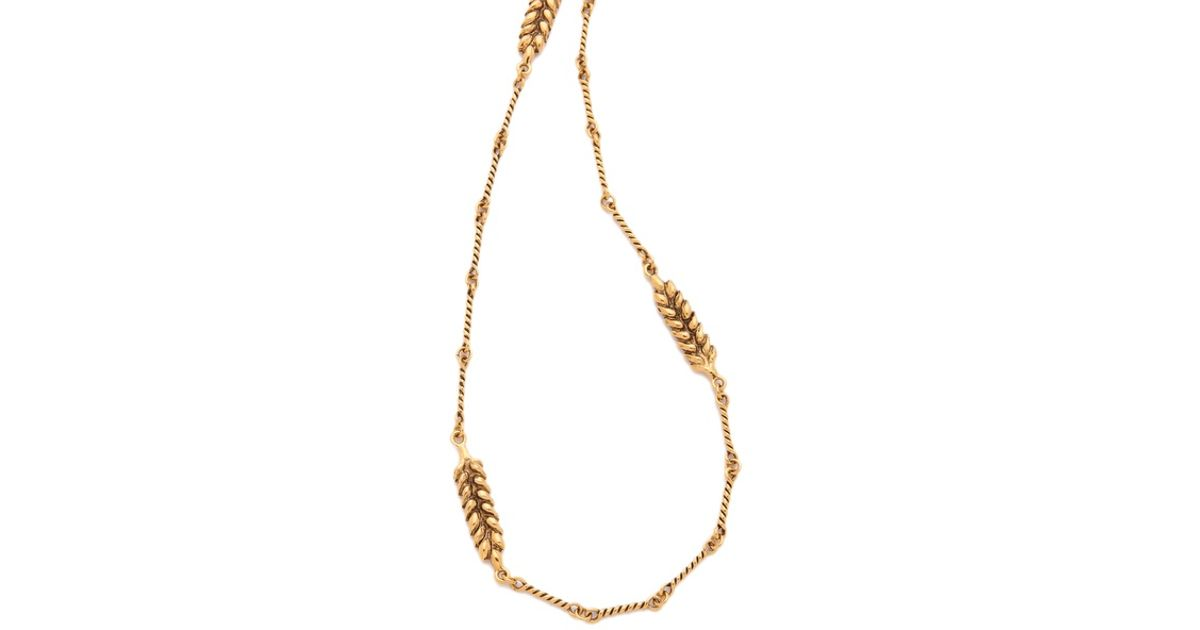 Wheat 13 Cobs Long Necklace in 18K Gold-Plated Brass Aur SOBfdwZ