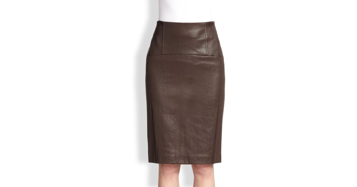 07e6e4ba0b Brunello Cucinelli Leather Wool Pencil Skirt in Brown - Lyst