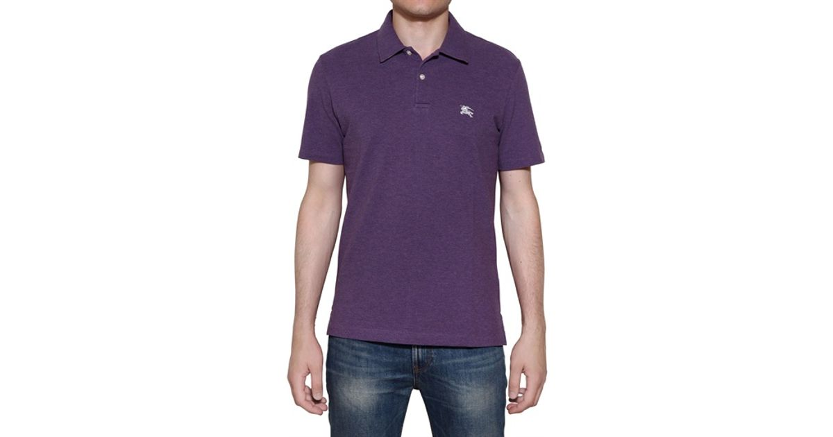 e659b3358 Burberry Brit Cotton Piquet Stretch Polo Shirt in Purple for Men - Lyst