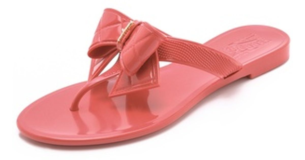 Ferragamo Bali Jelly Thong Sandals With Quilted Bow In