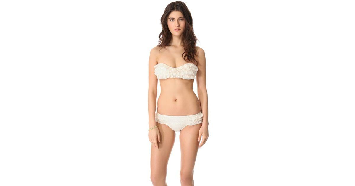 70eed8bf93 Lyst - Juicy Couture Prima Donna Ruffle Bandeau Bikini Top in White