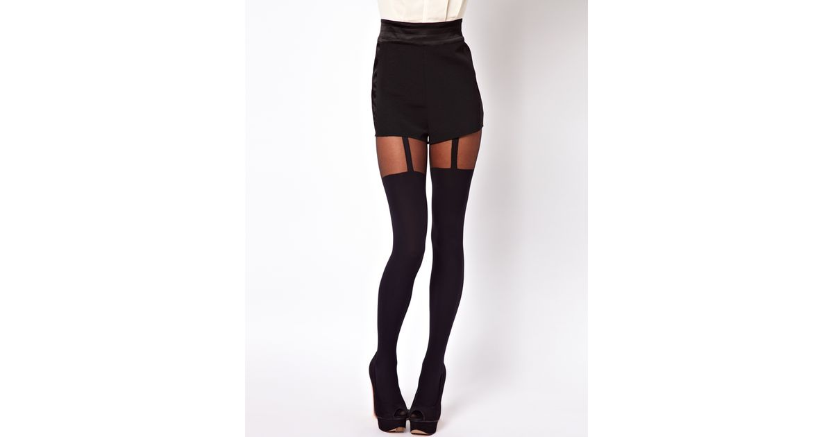 d41fd220f Pretty Polly Shape It Up Tummy Suspender Tights in Black - Lyst