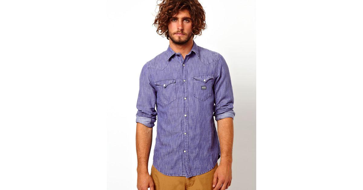 a50edb82ad Lyst - Ralph Lauren Denim Shirt with Bleach Wash in Blue for Men