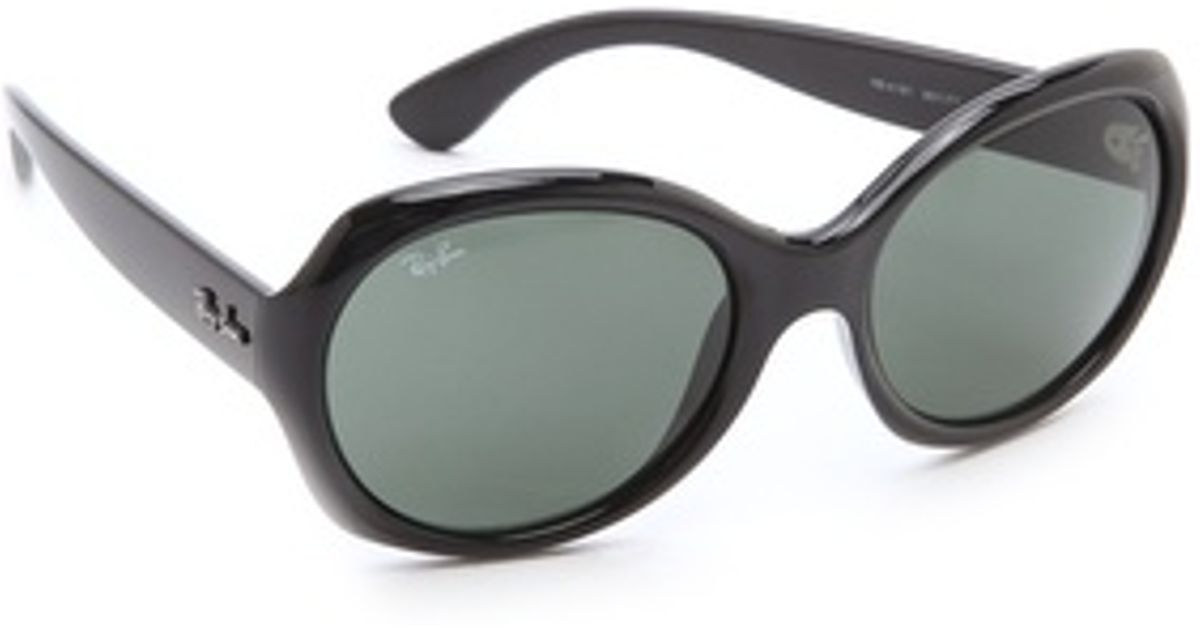 5e8a82e213 Ray-Ban Round Glam Sunglasses in Black - Lyst