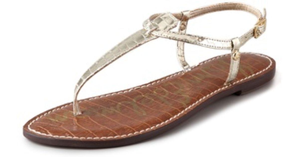 46b6259ab Lyst - Sam Edelman Gigi T Strap Flat Sandals in Metallic