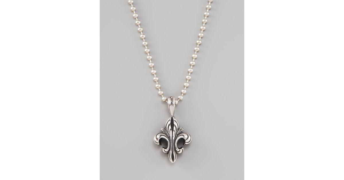 Lyst lagos fleur de lis pendant necklace in metallic aloadofball Gallery