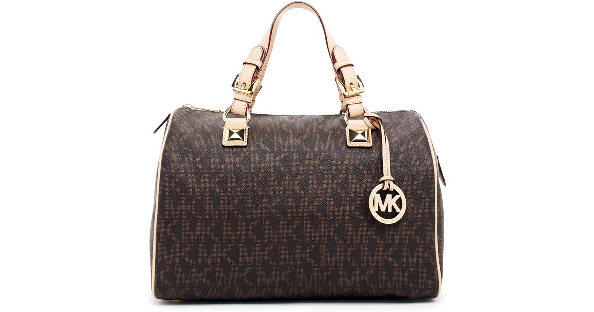 07e9884b1229 ... sale lyst michael michael kors large grayson satchel handbag in brown  c572a 5501c