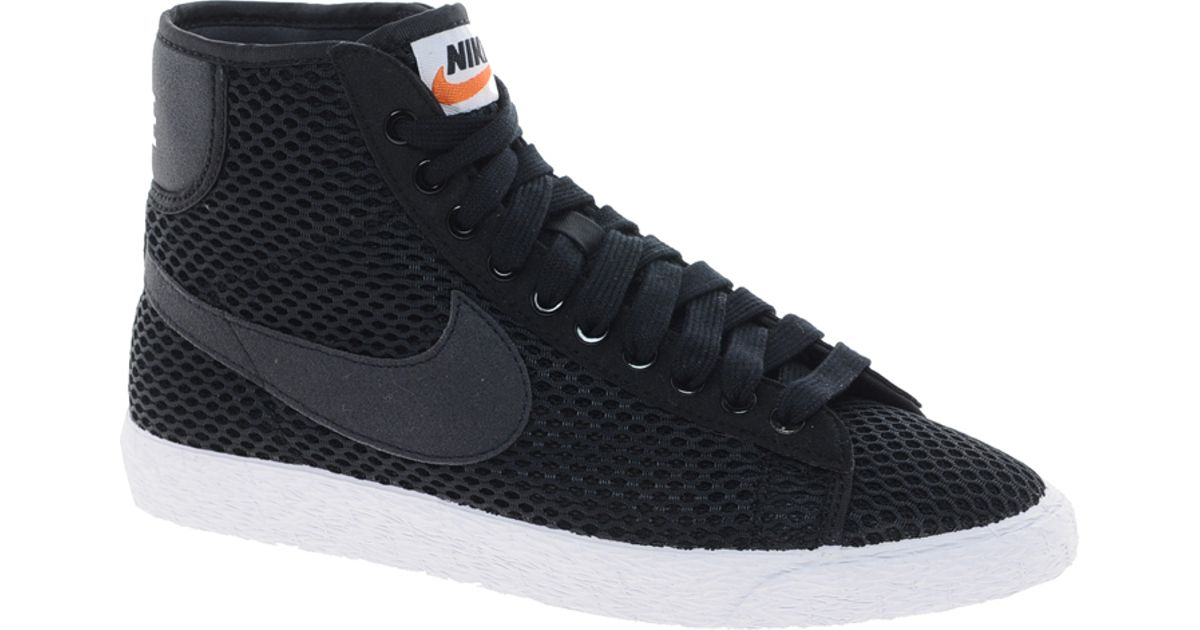 lyst nike blazer mid mesh black high top trainers in black