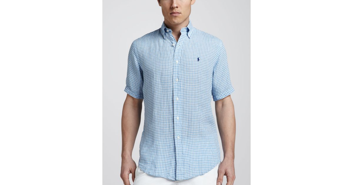 b0db88b88 Polo Ralph Lauren Gingham Shortsleeve Linen Shirt Light Blue in Blue for Men  - Lyst