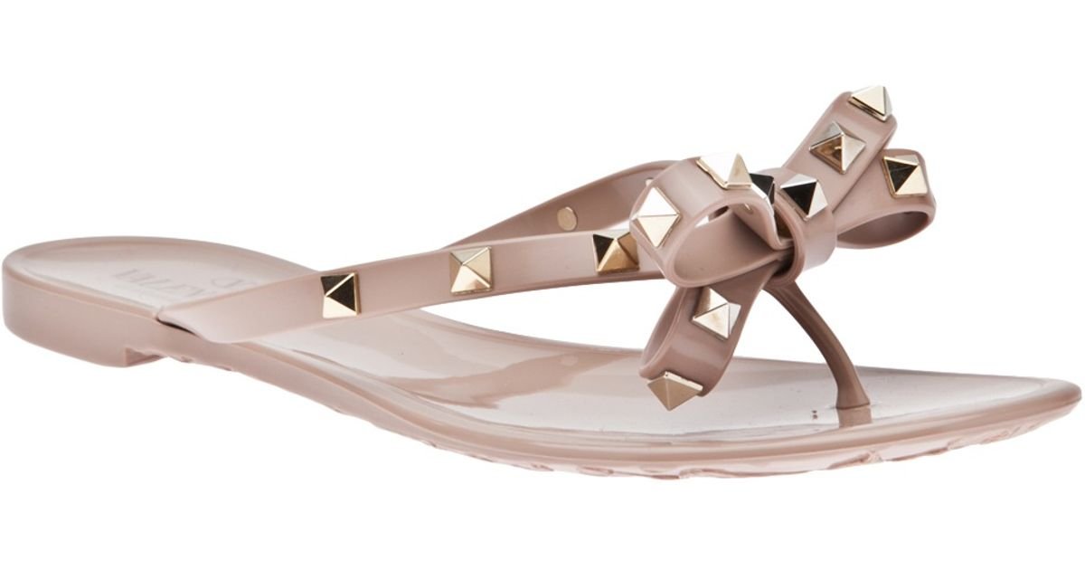 Valentino Rockstud Bow Sandals in Cream