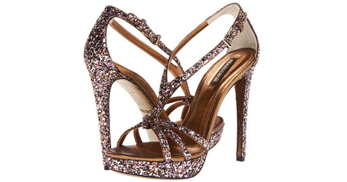 448efd32f46ec Roberto Cavalli Glitter Sandal in Metallic - Lyst