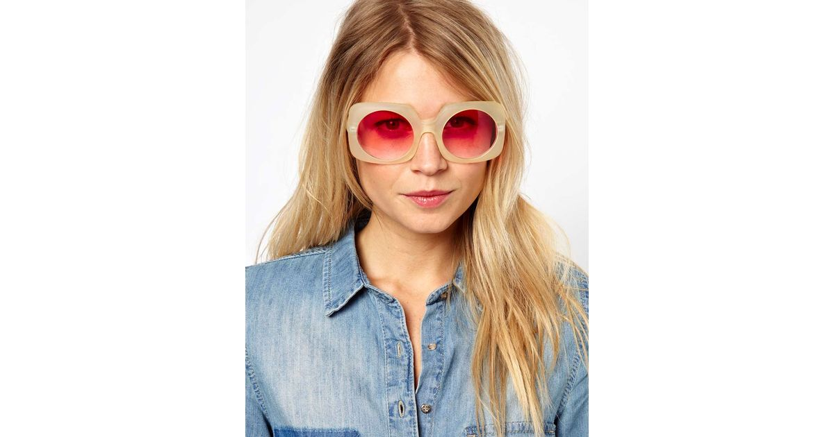 0f7777a7f ASOS 70s Square Sunglasses with Round Lens in Pink - Lyst
