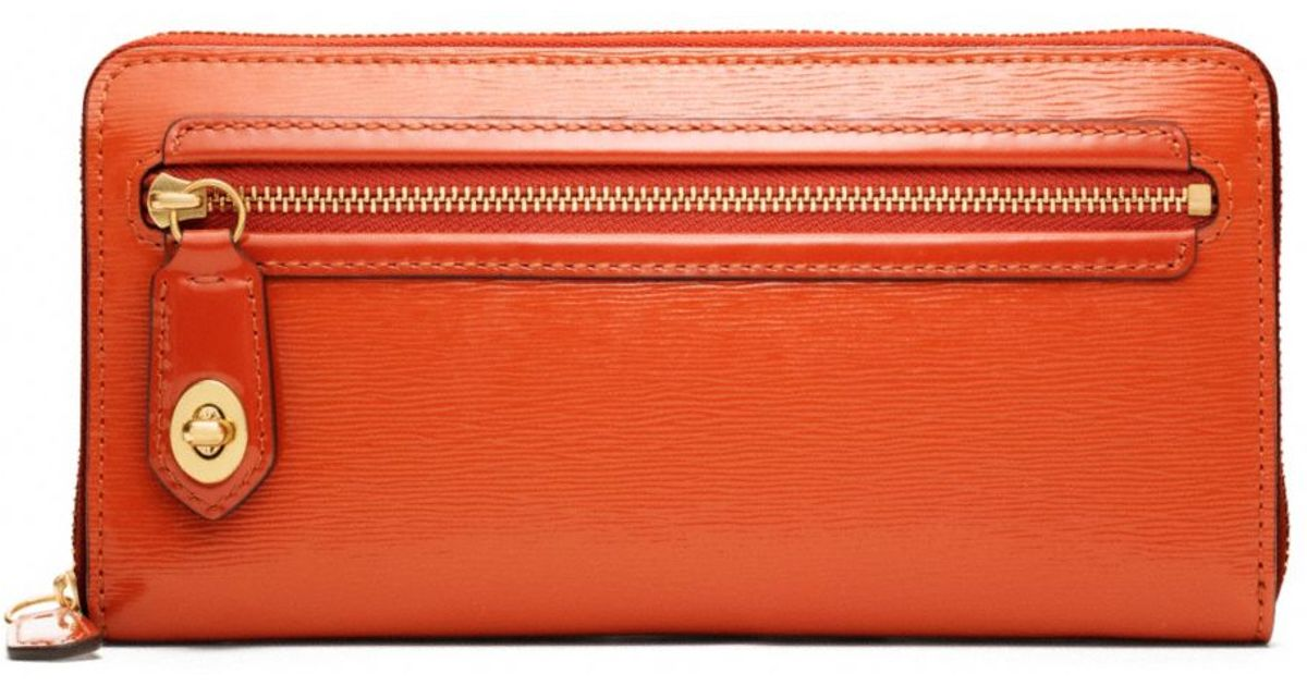 f9bd2aa683fb Lyst - COACH Poppy Accordion Zip Wallet in Textured Patent Leather in Orange