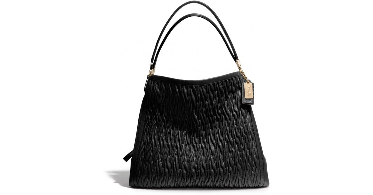 88240562393a ... france lyst coach madison phoebe shoulder bag in gathered twist leather  in black 7abbe 50040