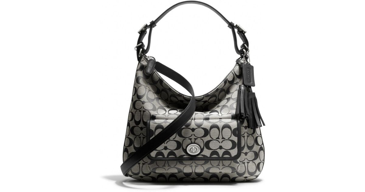 3f1a81878ae6 Lyst - COACH Legacy Courtenay Hobo Shoulder Bag in Signature Fabric in Black
