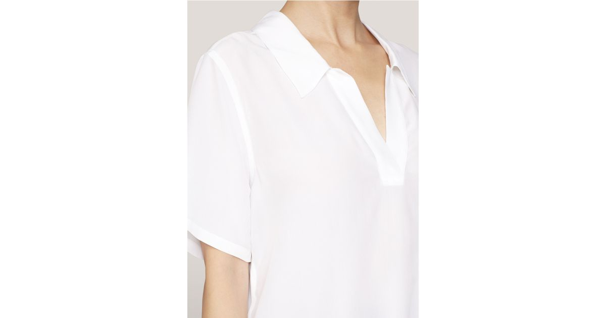 b26f9ffec49f7e Lyst - Equipment Short-sleeve Silk Blouse in White