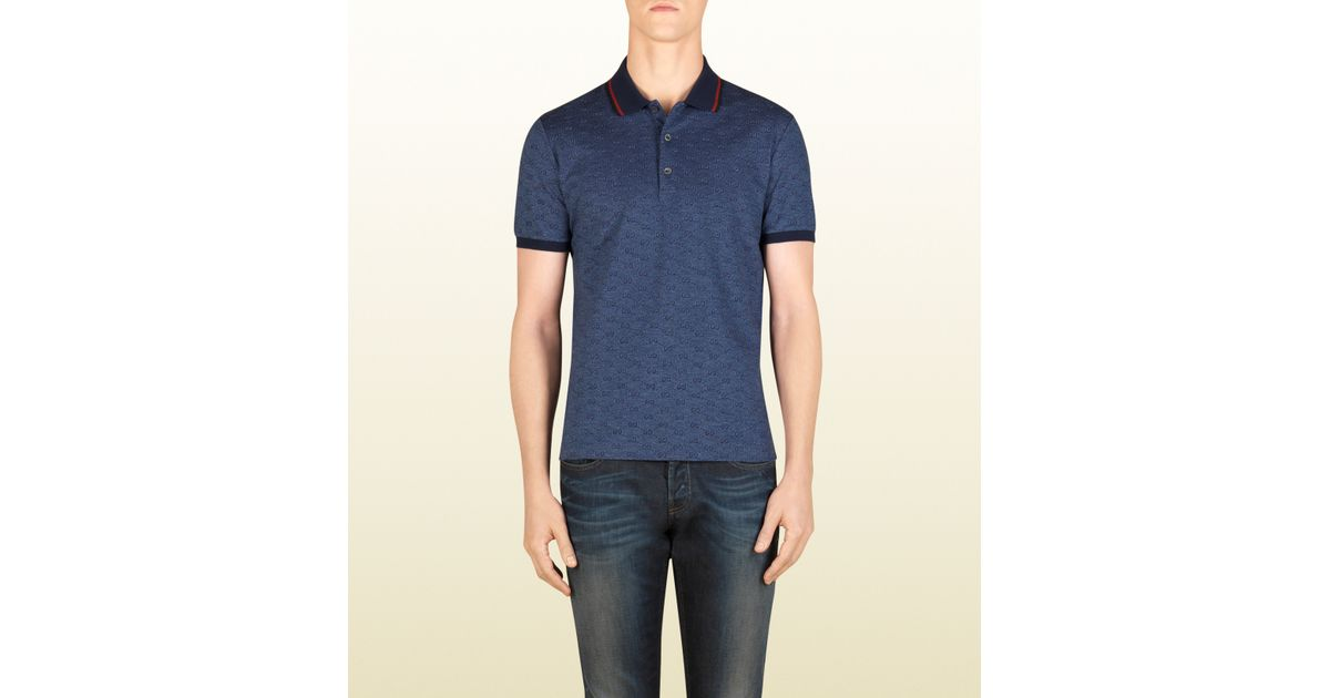 b23a8e3d9 Gucci Blue Gg Jacquard Cotton Pique Polo in Blue for Men - Lyst