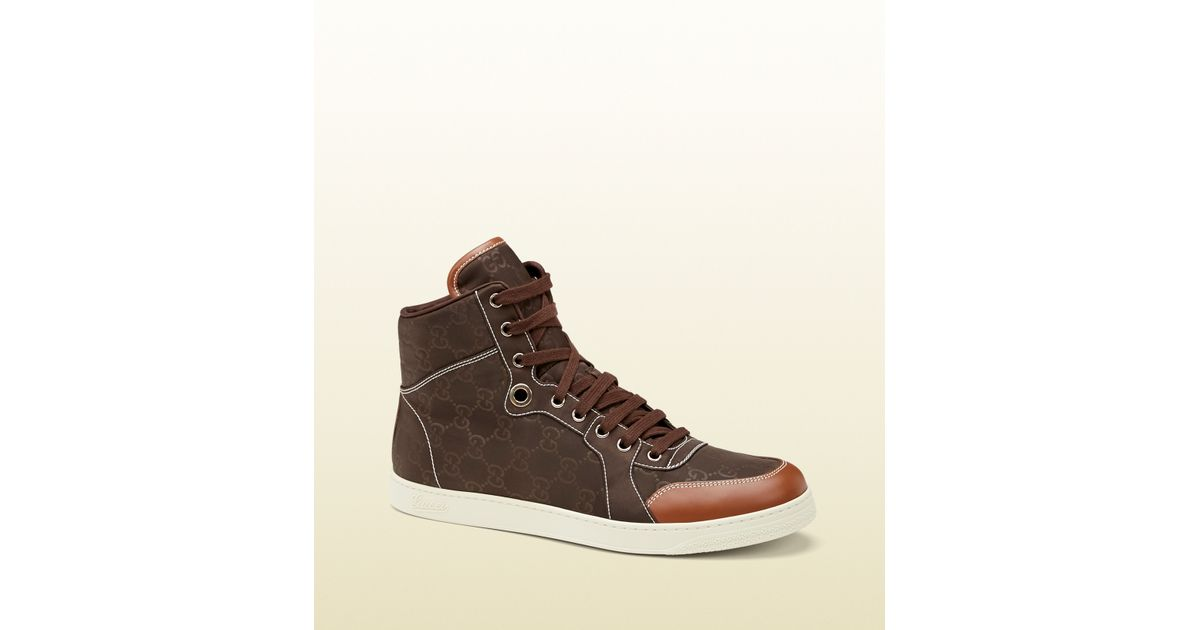 7aae4a0b0c1a Gucci Brown Nylon Guccissima Hightop Sneaker in Brown for Men - Lyst