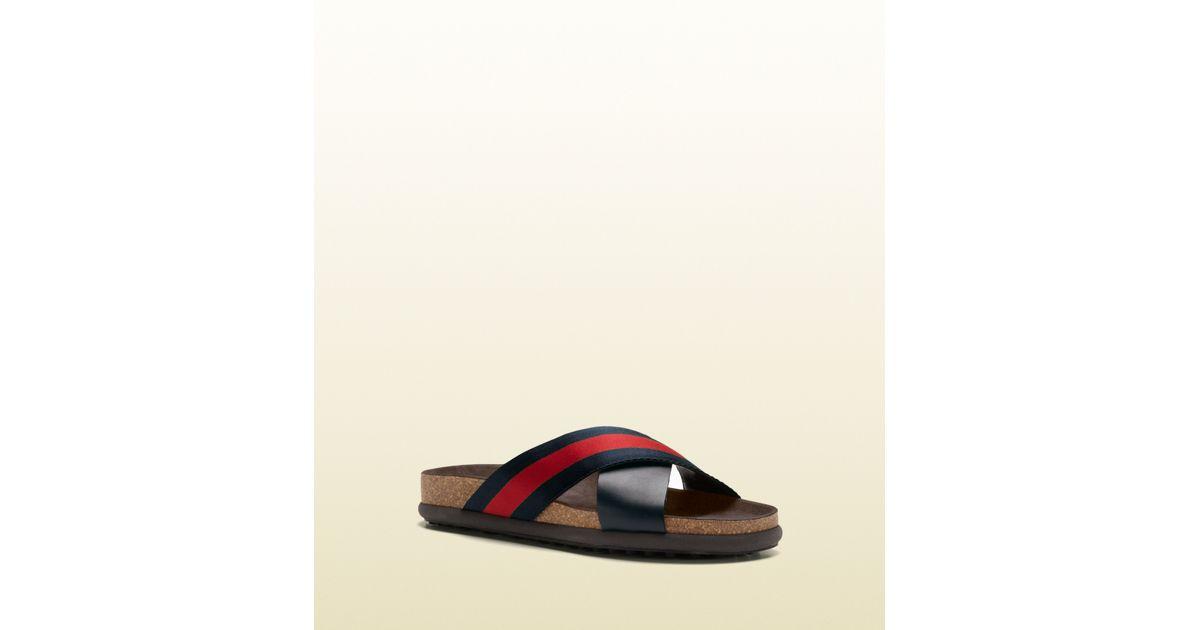 ed5d907025a435 Lyst - Gucci Signature Web Slide Sandal in Blue for Men