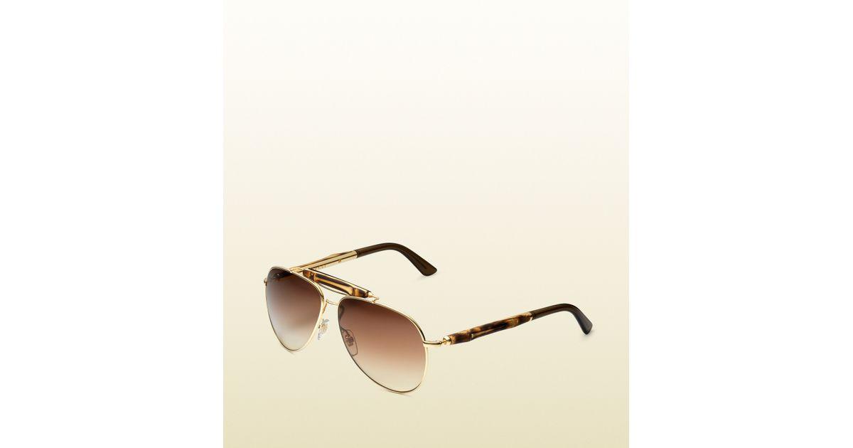 340bd9374d8 Lyst - Gucci Bamboo Aviator Sunglasses in Brown