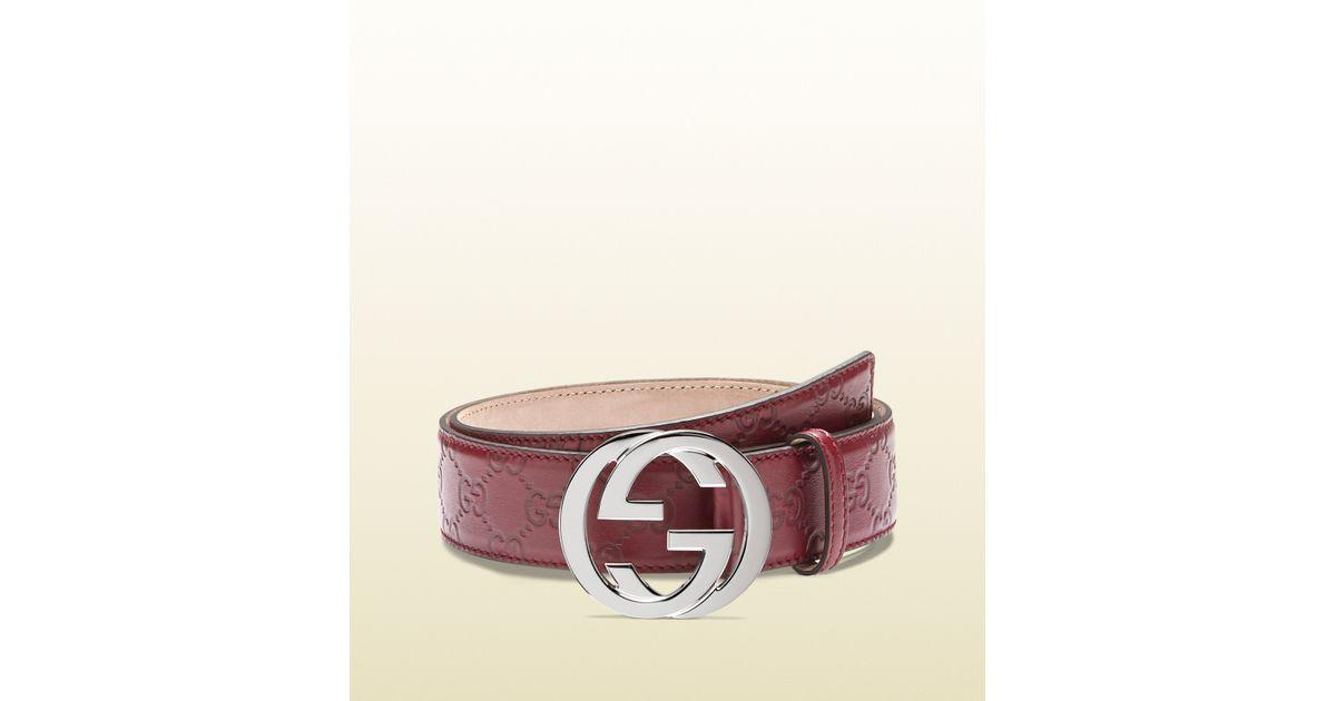 b5971ca9534 Lyst - Gucci Guccissima Leather Belt with Interlocking G Buckle in Purple