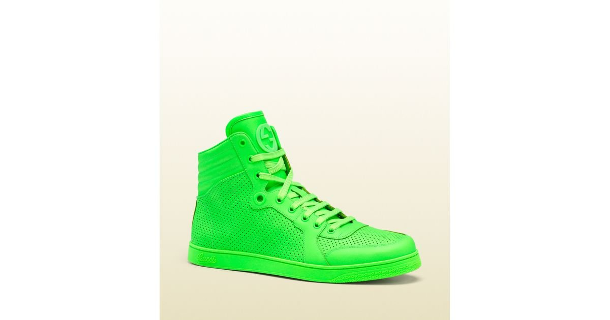 Gucci Neon Green Leather Hightop