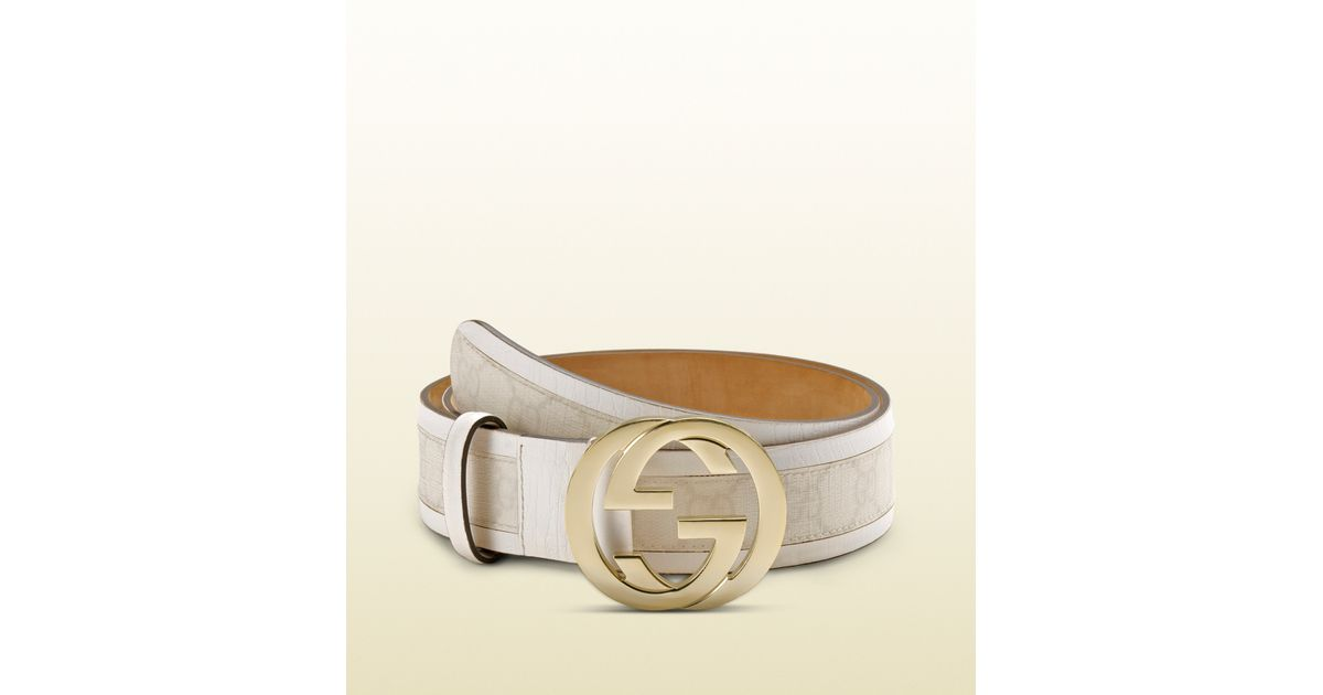 f0f11a01fb3 Lyst - Gucci Gg Plus Belt With Interlocking G Buckle in White