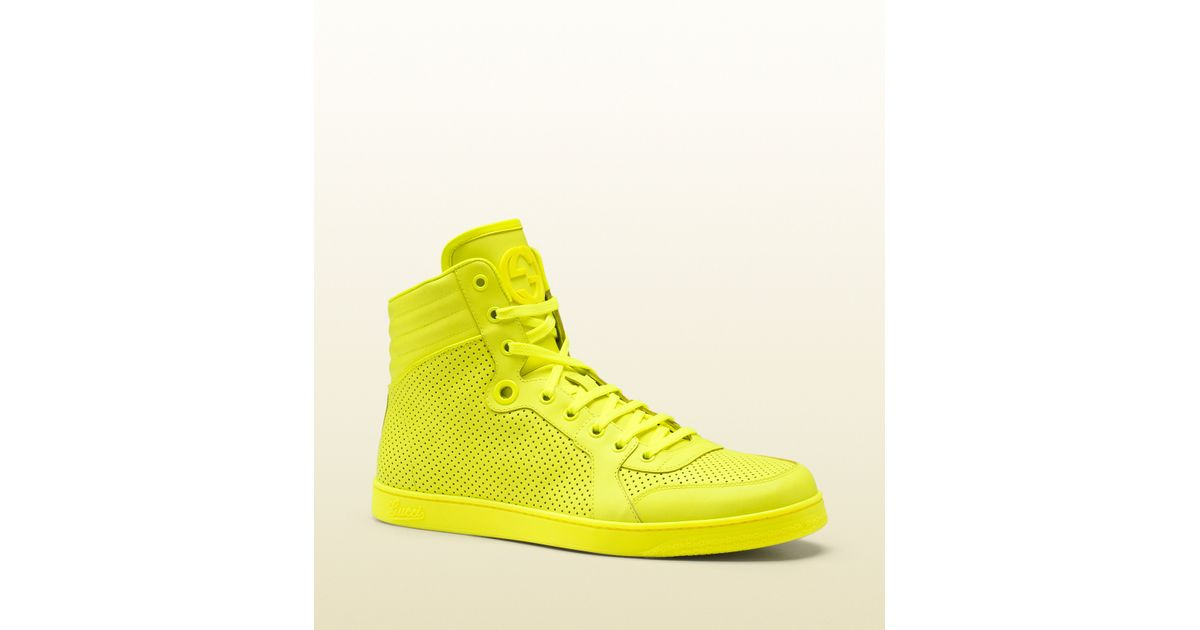 Gucci Neon Yellow Leather Hightop