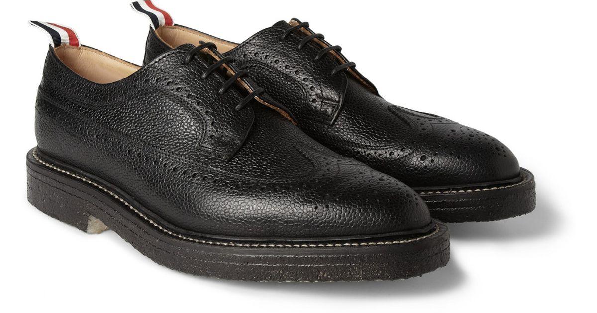 Thom Browne Leather Wingtip Oxford Brogues Black For Men