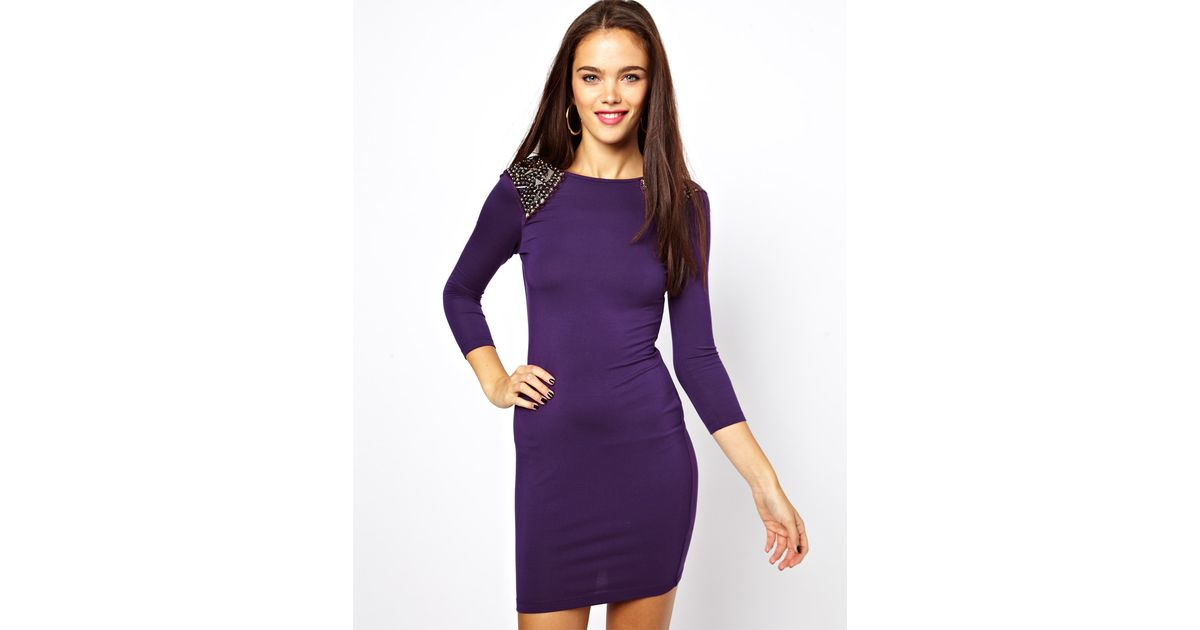 Lyst - Asos Heavily Embellished Shoulder Bodycon in Purple