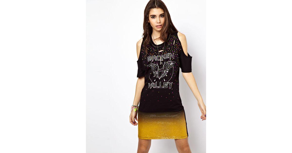 f03680485ad ASOS Slash Rock Glitter T-Shirt Dress in Black - Lyst