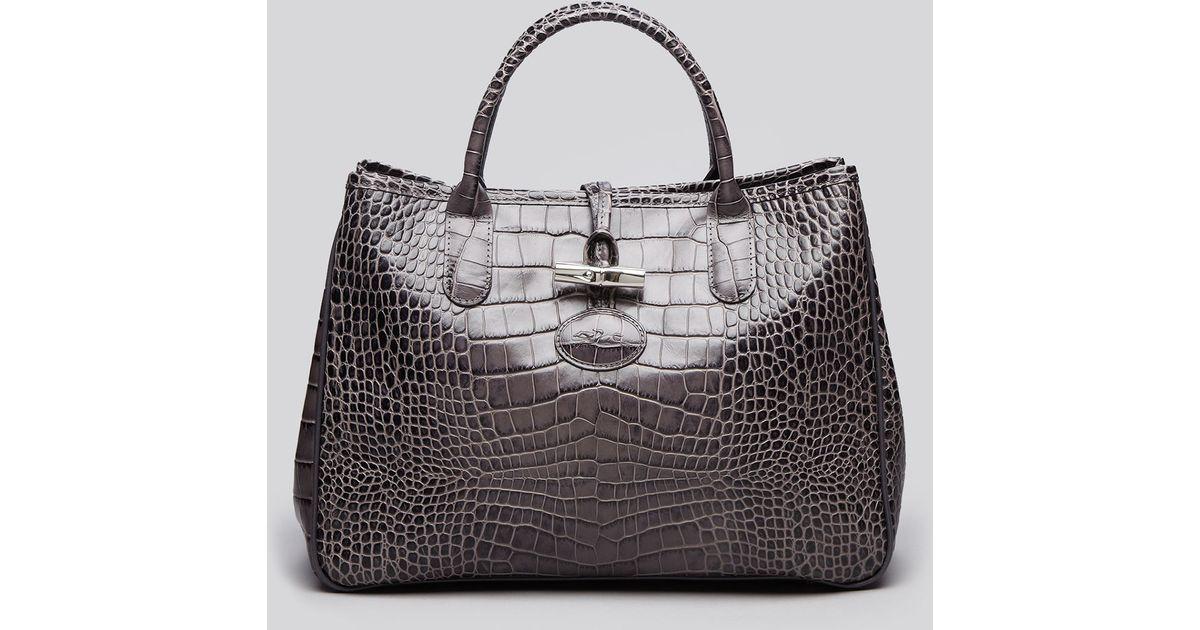 Longchamp Gray Shoulder Bag Roseau Croc Embossed