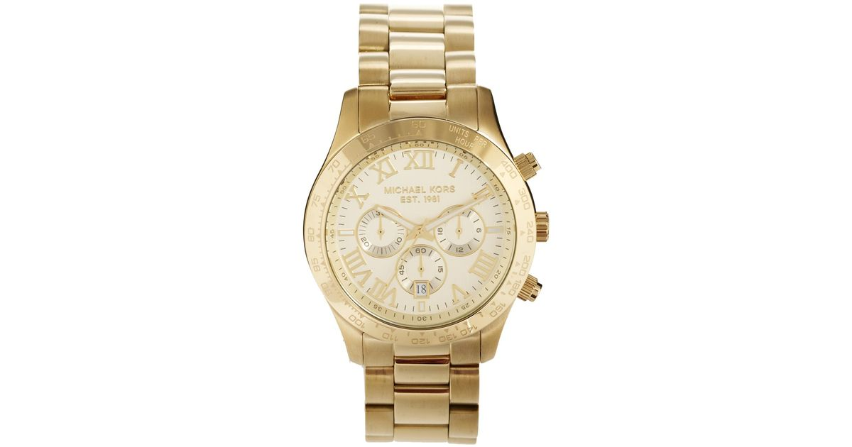 42cf9632f85f Michael Kors Watch Layton Goldtone Chronograph in Metallic for Men - Lyst