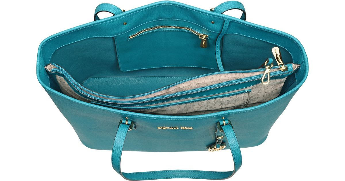 bbf78f7070d4 Michael Kors Jet Set Travel Multifunction Saffiano Leather Tote in Blue -  Lyst
