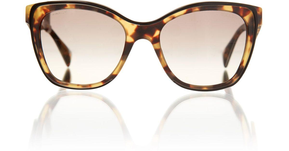 9ff4091e68 ... australia lyst prada tortoiseshell square cat eye sunglasses in  metallic c7260 05b34 ...
