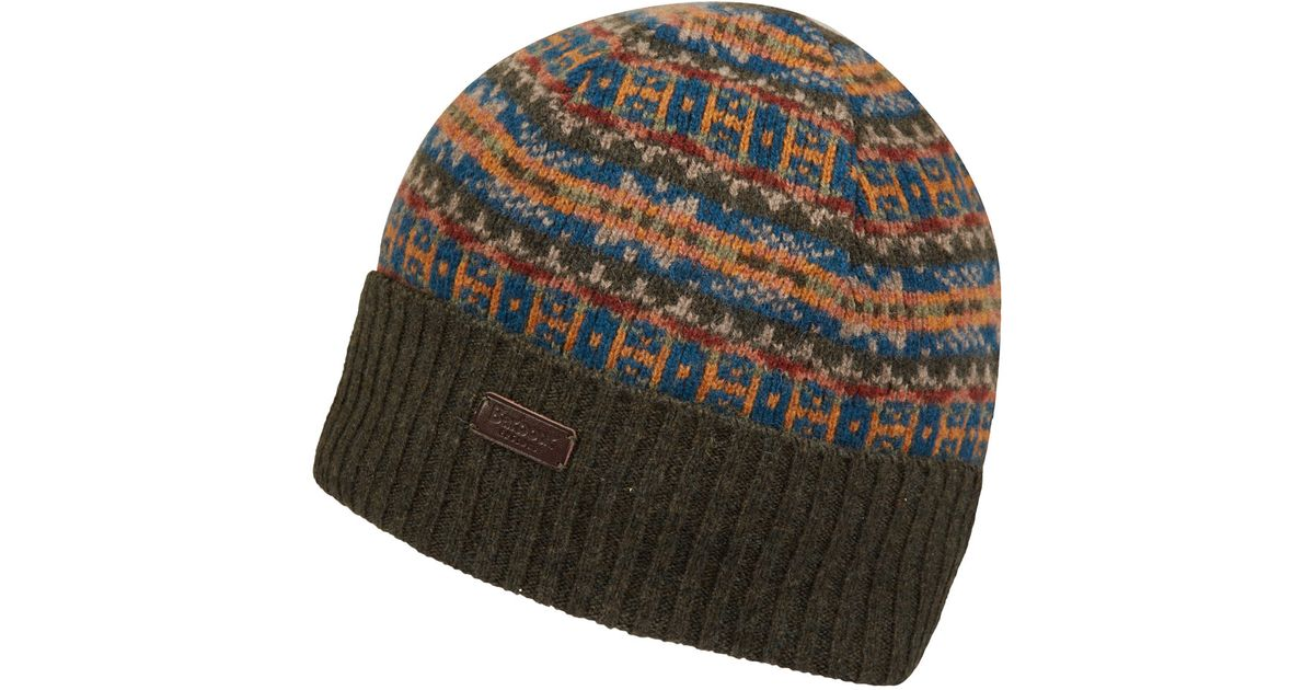 Lyst - Barbour Olive Melrose Fairisle Beanie Hat in Natural for Men