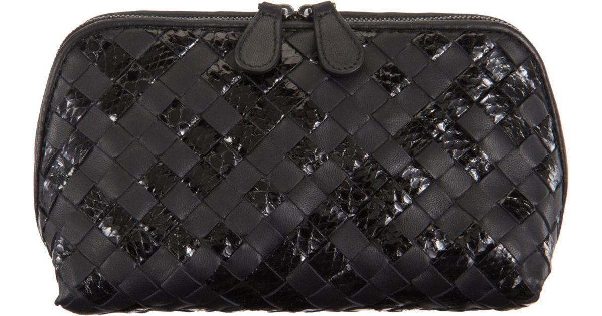 Bottega Veneta Medium Snakeskin Intrecciato Cosmetic Bag in Black - Lyst 8144695adb7d2