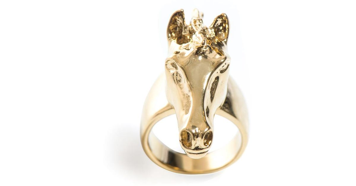 Chloe Horse Head Ring In Yellow Lyst
