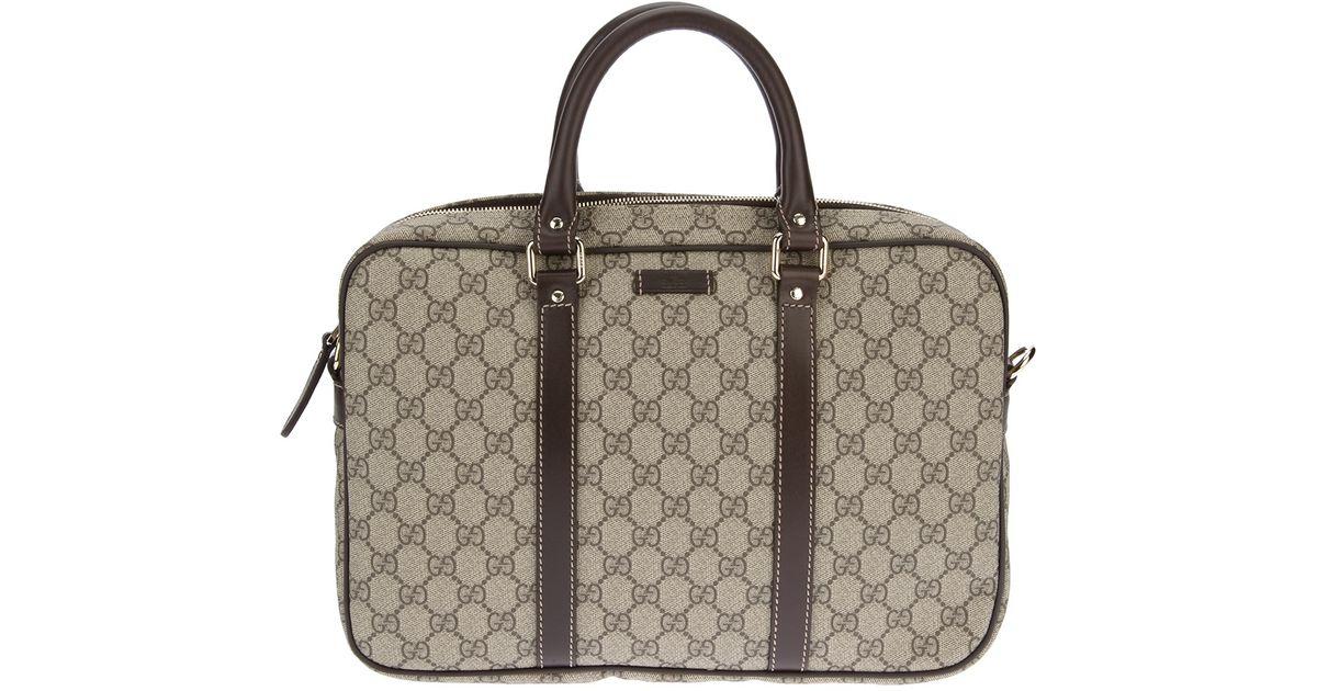 58a8baf27b3f Gucci Monogrammed Laptop Bag in Natural for Men - Lyst