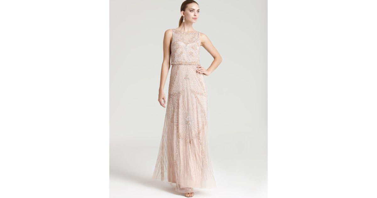 Lyst - Aidan Mattox Beaded Gown - Sleeveless Cinched Waist in Pink