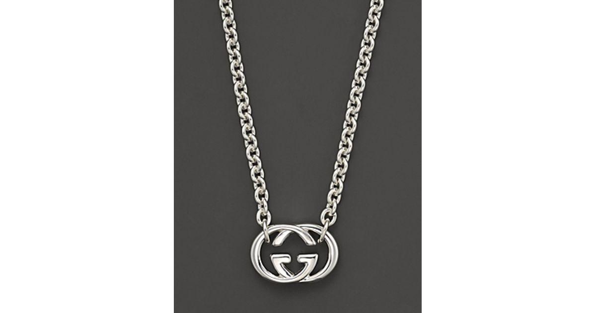 412711cea9f Gucci Sterling Silver Britt Necklace 18 in Metallic - Lyst