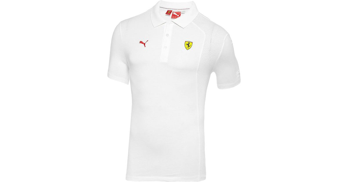 600cae46 PUMA Ferrari Polo Shirt in White for Men - Lyst