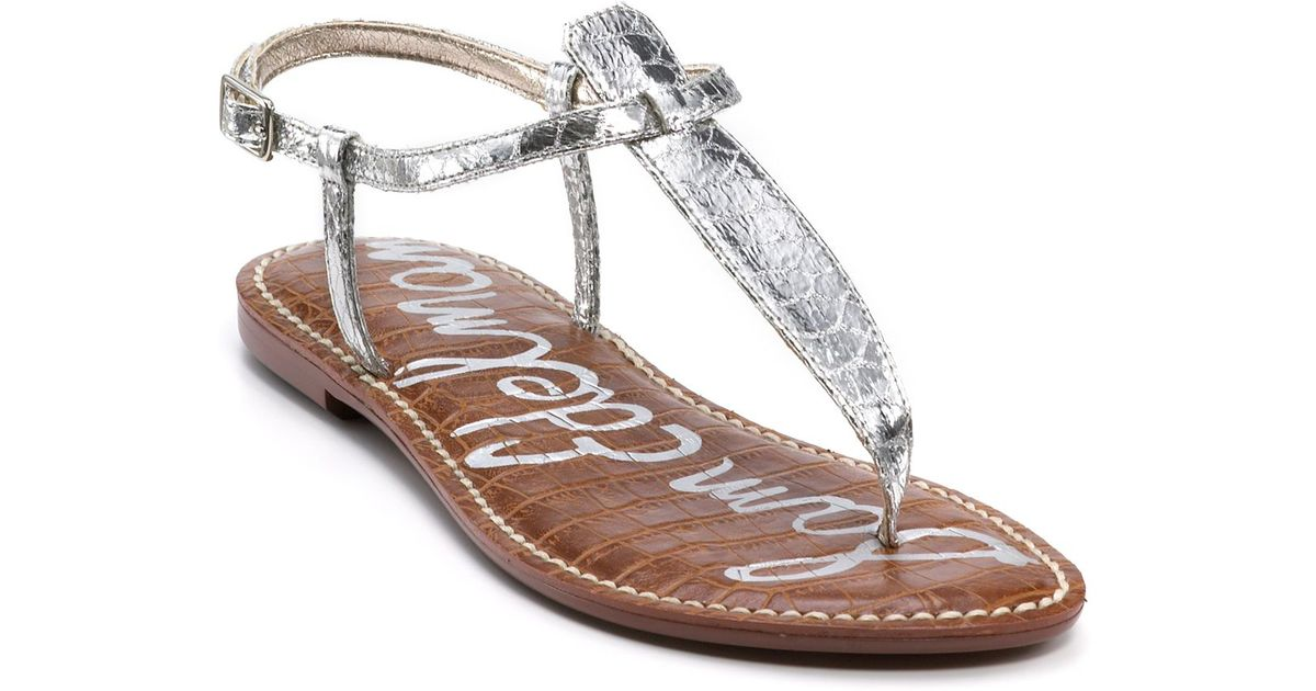5e2561e00e914e Sam Edelman Gigi Flat Sandals in Metallic - Lyst