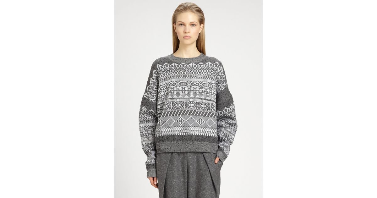 Alexander wang Stretchwool Fair Isle Sweater in Gray | Lyst