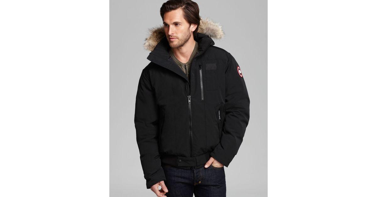 a0a8377f5 Canada Goose Black Borden Bomber Parka With Fur Hood for men
