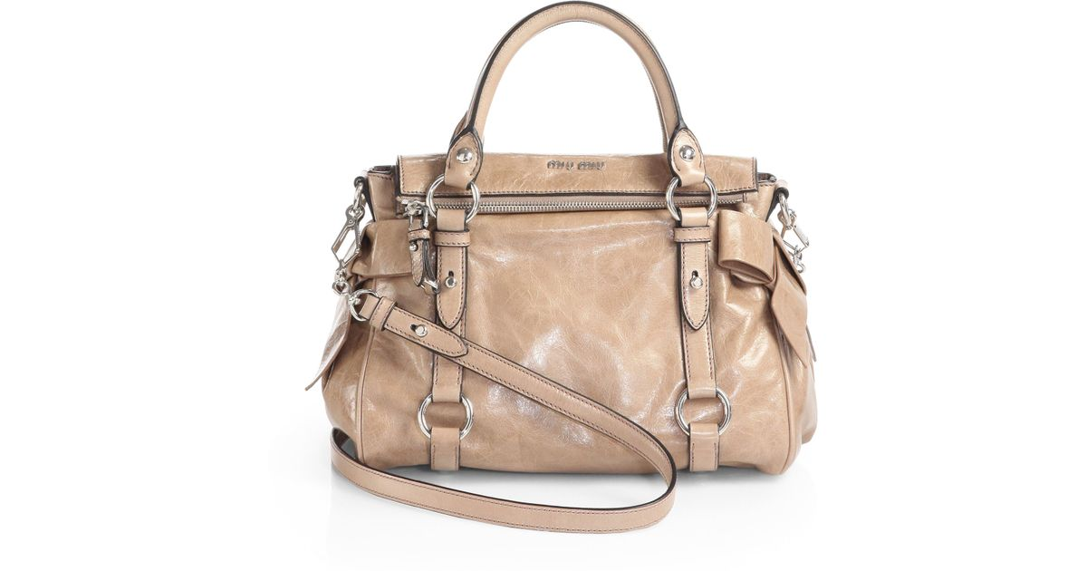 9e2dd31f457a Lyst - Miu Miu Vitello Lux Mini Bow Satchel in Natural